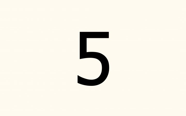 five in Arabic